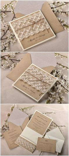 Shabby chic lace and burlap rustic wedding invitation suite; @ElegantWeddingInvites