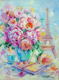 Original oil paining Dairy of Paris Roses, Eiffel tower.  Media: oil paint, canvas, palette knife, lacquer. Size: 12х16 inches(30Х40)  Pre-order. This painting has been already sold, but I can paint it again for you in any size you want! It will be ready to ship within 1-2 weeks.