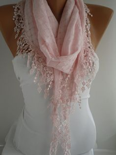 Pink  Shawl and Scarf  Headband - Cowl with Lace Edge -Summer Trends $15.90