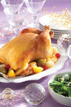 Chester assado com vinho branco,gengibre e caldo de galinha