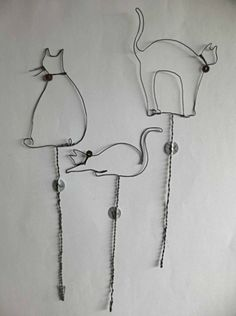 Chats en fil de fer