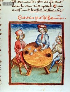 Three men playing dice, 1479, Constance