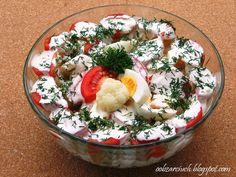 Obżarciuch: Sałatka z kalafiora i pomidorów Acai Bowl, Potato Salad, Salads, Potatoes, Lunch, Breakfast, Ethnic Recipes, Food, Diet