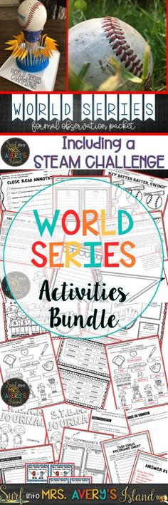Are you seeking a STEAM or STEM challenge to couple with current events in social studies?  This World Series bundle is full of no prep/low prep activities and cross the curriculum in reading, ELA, science, social studies, technology, and math!  Click on the link to discover engaging printables guaranteed to hit a GRAND SLAM with your students as you address standards with activities centered around baseball.