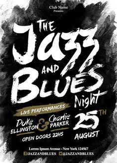 Jazz and Blues Night Poster and Flyer Typography Love, Typographic Design, Typography Letters, Typography Inspiration, Graphic Design Inspiration, Graphic Design Posters, Graphic Design Typography, Graphic Design Illustration, Lettering Design