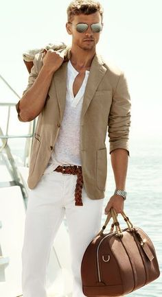 Either a tee or henley will look great with a casual tan sport coat and jeans or pants