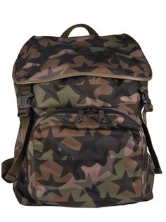b024e1ec7a41ea Camustar Backpack from Valentino Garavani: Green Camustar Backpack with  leather trims, front zip compartment