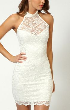 Off-shoulder Backless Chest Hollow-out Lace Club Dress. Oh if only a different colour <3