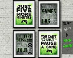"Set of Four Video Game Posters - Neon Green - 8x10""- A4 - PS Controller - PLAYSTATION Bedroom - Gamer - Teen boy bedroom - game room art"