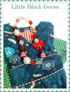 Peppermint Stick chunky girl's necklace Made by LittleBlackGoose, $24 ...