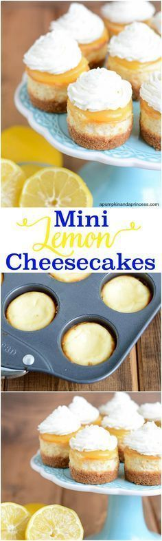 Mini Lemon Cheesecakes - this cheesecake recipe is perfect for parties! Mini cheesecakes topped with lemon curd and whipped cream.