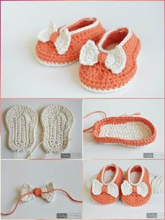Crochet Baby Shoes Crochet Orange Baby Bow Booties - Top 40 Free Crochet Baby Booties Patterns - These 40 free crochet baby booties patterns that are quick to whip up and come with stunning designs that will warm every mom's heart! Bag Crochet, Crochet Baby Shoes, Crochet Baby Booties, Crochet Gifts, Cute Crochet, Baby Shoes Pattern, Shoe Pattern, Crochet Toddler, Crochet For Kids