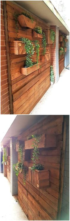 Decorate your dream home fabulously and make the place seems glowing and lively with this fantastic pallet wall decor planters. These planters will se. Pallet Bar Plans, Pallet Kids, Pallet Furniture Plans, Diy Pallet Projects, Outdoor Furniture, Wood Projects, Furniture Ideas, Woodworking Projects, Outdoor Decor