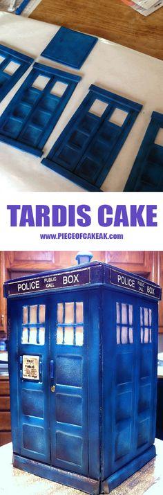 #Tardis cake #DoctorWho  from www.pieceofcakeak.com!!