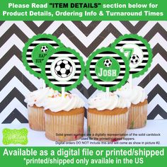 Soccer Cupcake Toppers  Soccer Party Circles  by WithEnvyParties