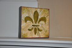 Fleur de Lis Acrylic Painting on Canvas  5x5 Original by dlynnart, $30.00
