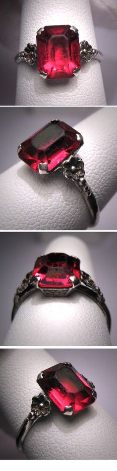 love the design of this art deco emerald cut ruby ring circa 1920's