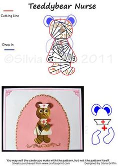 "Teddy Bear Nurse on Craftsuprint designed by Silvia Griffin - Cute teddy bear nurse for a perfect get well card- or your friends that are nurses.""I love you ""Beary"" much "" - Now available for download!"