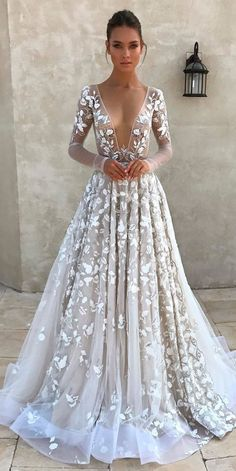 24 Top Wedding Dresses For Bride? top wedding dresses a line with long illusion sleeves deep v neckline floral appliques berta : 24 Top Wedding Dresses For Bride? top wedding dresses a line with long illusion sleeves deep v neckline floral appliques berta Unique Wedding Gowns, Top Wedding Dresses, Wedding Dress Sleeves, Long Sleeve Wedding, Wedding Bride, Bridal Dresses, Lace Wedding, Dresses Dresses, Wedding Ideas Unique Different