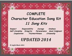 ***$15.00*** Character Education Song Kit Package 11 SONG KITS