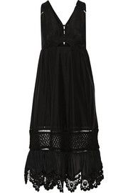 Cutout crochet-trimmed cotton and silk-blend midi dress