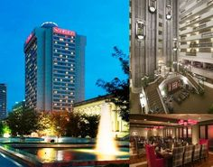 The Sheraton ~ Nashville, Tennessee Downtown Hotel photo collage. You can see the old revolving restaurant at the very top that used to be there at one time.