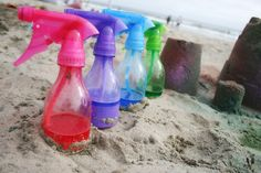 Sandy Toes and Popsicles: Kiddie Fun: Painted Sandcastles- cornstarch,water, and food color in spray bottles