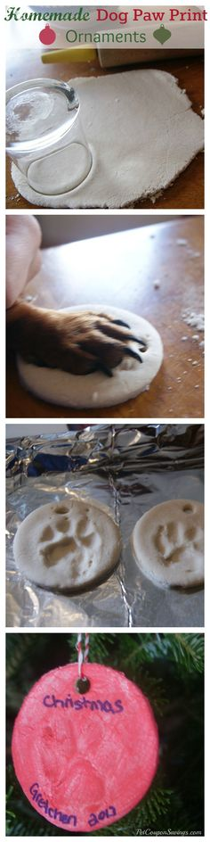 Homemade Dog Paw Print Ornaments. How cute are these? They're so easy to make, too!omg I want to make one for Max
