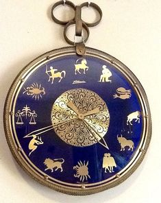 Vintage  Astrology Wall Clock Cobalt Blue Glass Brass Mauthe German Atlanta brand  Key Wound Rare Antique  Art Deco Wall Hanging