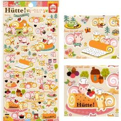 San-X Kawaii Collection Stickers: Hutte! Squirrels Cassis & Maron