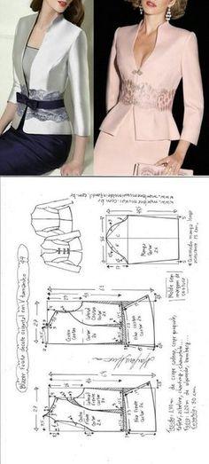"Blazer festa decote em ""V"" Fashion Sewing, Diy Fashion, Ideias Fashion, Fashion Dresses, Coat Patterns, Dress Sewing Patterns, Clothing Patterns, Blazer Pattern, Jacket Pattern"