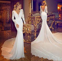 2015 New Fashionable Chiffon Lace Deep V Neck Long Sleeve Open Back Sexy Berta…