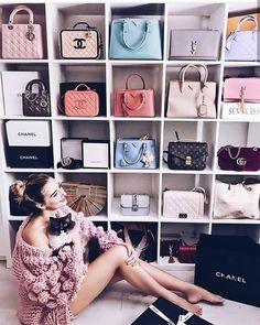Ideas For Shoe Closet Goals Dressing Rooms Bag Closet, Closet Bedroom, Organizar Closet, Handbag Storage, Handbag Display, Shoe Storage, Storage Room, Bag Women, Walk In Wardrobe