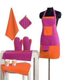 2 Color Cotton Chefs Apron Set with Pot Holder Oven Mitts  Napkins  Perfect Home Kitchen Gift or Bridal Shower Gift -- Read more reviews of the product by visiting the link on the image. (This is an Amazon Affiliate link and I receive a commission for the sales)