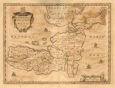 DENMARK/MAPS: Lalandia Falstria et Mona Insulae in Mari Balthico [Lolland (Laaland), Falster & Møn/Mon Islands in the Baltic Sea]; Original large folio 17th century antique map with wide margins. Uncoloured, c1667; approximate size 42.5 x 55.5cm, 16.75 x 21.75 inches