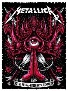 metallica poster by Ken Taylor Metallica Cover, Metallica Art, Rock Bands, Metal Bands, Hard Rock, Rock Band Posters, Woodstock, Heavy Metal Art, Metal Artwork