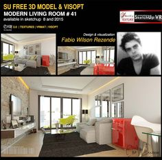 free Sketchup model Modern Living Room 41# by Fábio Wilson