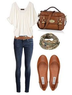 Comfy look. I love the caramel colors for fall and I always like fun scarves.