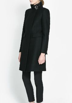 Love the buckle at the neck.  Black Buttons Collarless Long Sleeve Wool Coat