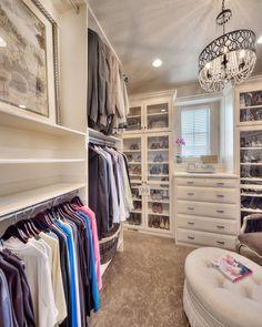 Master closet: walk-in closet, closet inspiration, sitting area in closet, closet window