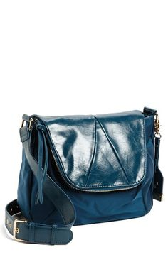 Like the wide strap, color, foldover flap.. POVERTY FLATS by rian Nylon Crossbody Bag | Nordstrom