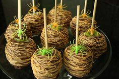 caramel apples in orange spider webs (try using melted butterscotch chips)