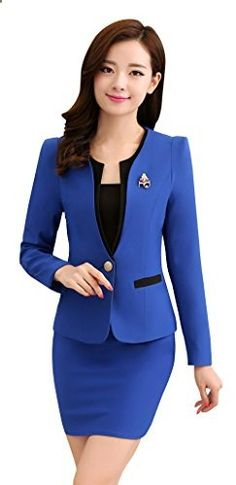Kangqifen Women's Long Sleeve Business Offcie Suit Skirt Set Large, Royal Blue  Go to the website to read more description.