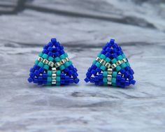 Modern Stud Earrings Beaded Triangles in Silver by Charmandculture, $39.00