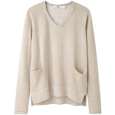 Hope Won Sweater (£88) ❤ liked on Polyvore featuring tops, sweaters, shirts, jumpers, pink shirt, long v neck sweater, pink sweater, side slit sweater and long v neck shirts