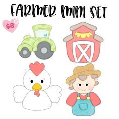 This set will include 4 mini cookie cutters. Stencil Templates, Stencils, Farm Cookies, Shrink Art, Paper Piecing Patterns, Button Art, Cookie Designs, Cute Images, Felt Crafts