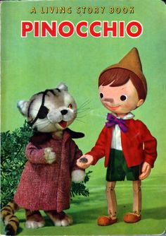 pinocchio: a living story book, vintage 1962 children's book by crown publishers / shiba productions, japan