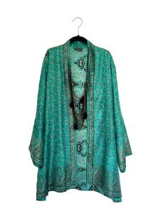 Silk Kimono jacket oversized / cocoon cover up jade by Bibiluxe