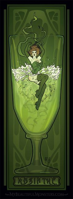 Absinthe Poster by MyBeautifulMonsters on DeviantArt Vintage Artwork, Vintage Posters, Deviant Art, Green Fairy Absinthe, Mythology Books, Art Nouveau, Art Deco, Mosaic Wall Art, Vintage Witch