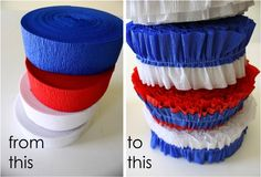 Getting ready for the Patriotic Streamers sew crepe streamers together, so cheap! 4th Of July Parade, Fourth Of July, Gold Diy, July Crafts, Holiday Crafts, Vbs Crafts, Holiday Ideas, Crepe Paper Streamers, Independance Day